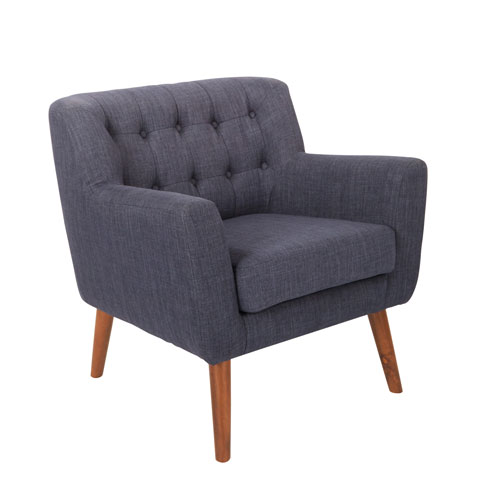 Mill Lane Chair in Navy Fabric with Coffee Legs