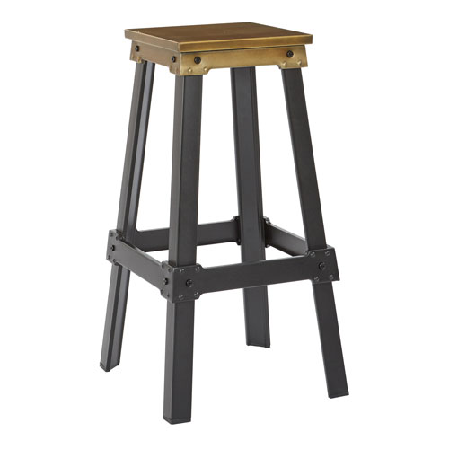 New Hampshire 30-Inch Bar Stool in Brushed Copper Finish and Frosted Black Base