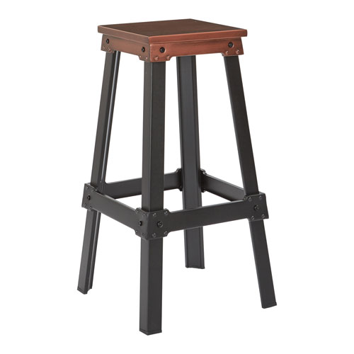 New Hampshire 30-Inch Bar Stool in Brushed Red Copper Finish and Frosted Black Base