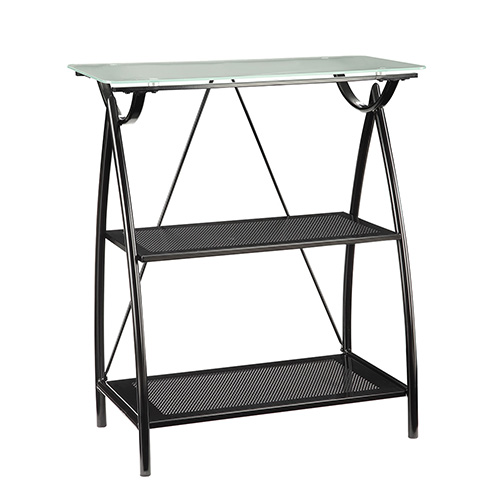 Office Star Products Newport Black Two-Shelf Bookcase with Frosted Tempered Glass Top