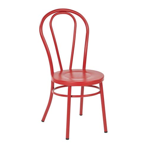 Office Star Products Odessa Red Metal Dining Chair Set Of 2