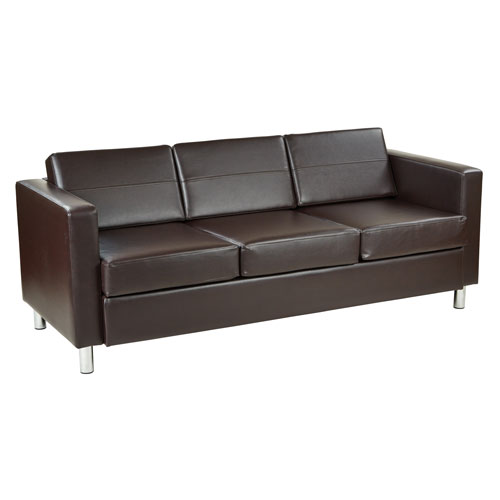 Pacific Easy-Care EspressoFaux Leather Sofa Couch with Box Spring Seats and Silver Color Legs