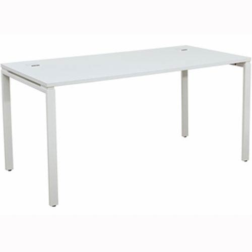 60-Inch Writing Desk with White Laminate Top and White Finish Metal Legs