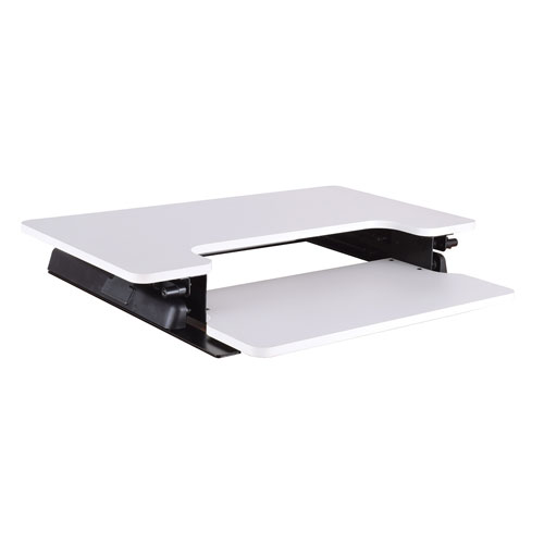 White Desk Riser with 10-Position Height Adjustment, Spring-Assist Lift, and Dual Handles
