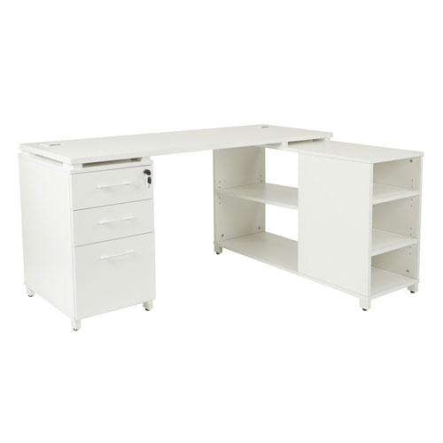 Prado L-Shape Office Group with Storage in White