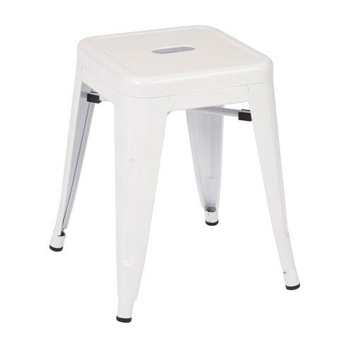 Office Star Products Patterson White 18-Inch Metal Stool, Set of 2
