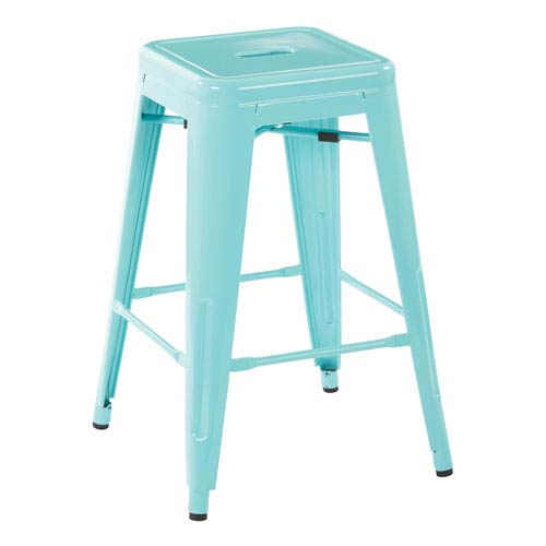 24-Inch Steel Backless Barstool in Mint Green (Set of 2)