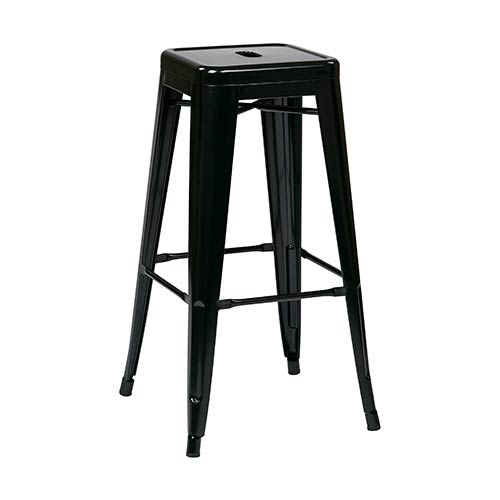 Office Star Products Patterson Black 24 Inch High Steel Backless