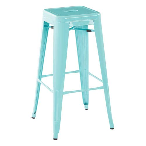30-Inch Steel Backless Barstool in Mint Green Finish (Set of 2)