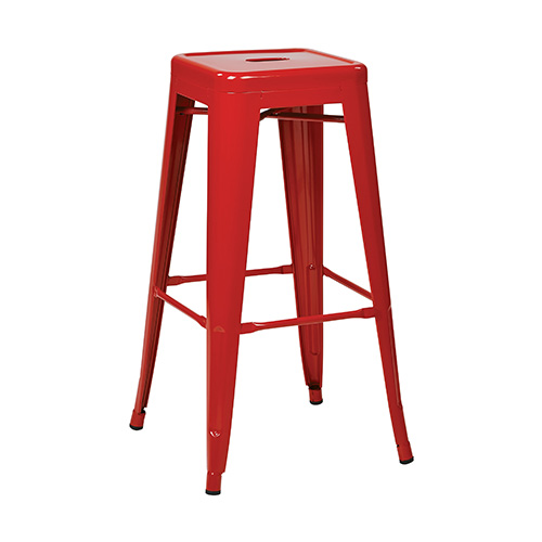 Office Star Products Patterson Red 30-Inch High Steel Backless Barstool, Set of 2