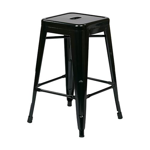 Office Star Products Patterson Black 30-Inch High Steel Backless Barstool, Set of 4
