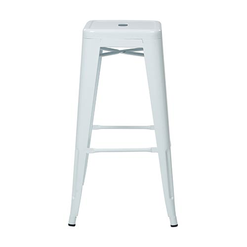 Office Star Products Patterson White 30-Inch High Steel Backless Barstool, Set of 2