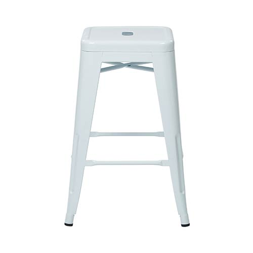 Office Star Products Patterson White 30 Inch High Steel Backless