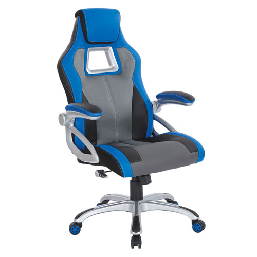 Race Chair in Charcoal Grey with Blue Trim, White Stitching, and Silver Base