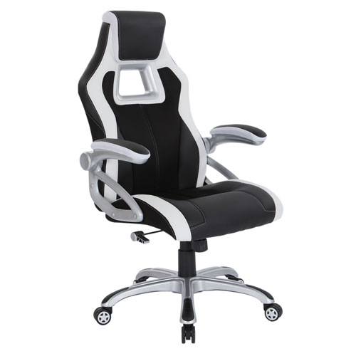 Race Chair in Black with White Trim, White Stitching, and Silver Base