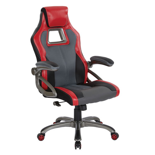 Race Chair in Charcoal Grey with Red Trim, White Stitching, and Titanium Base