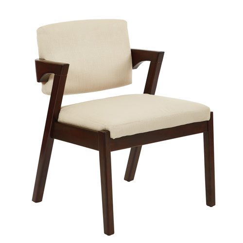 Reign Chair in Ricepaper Fabric with Walnut Wood Finish