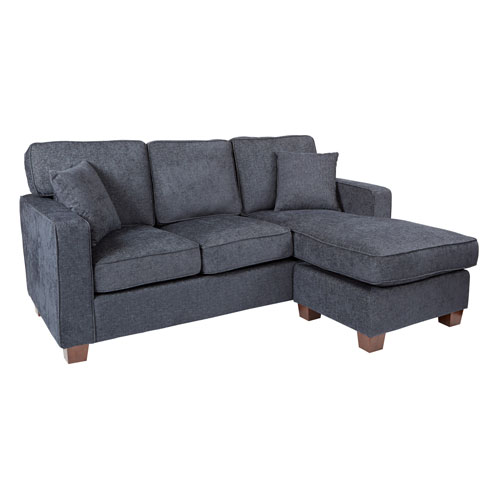 Rus Sectional In Navy Fabric With 2 Pillows And Coffee Finished Legs
