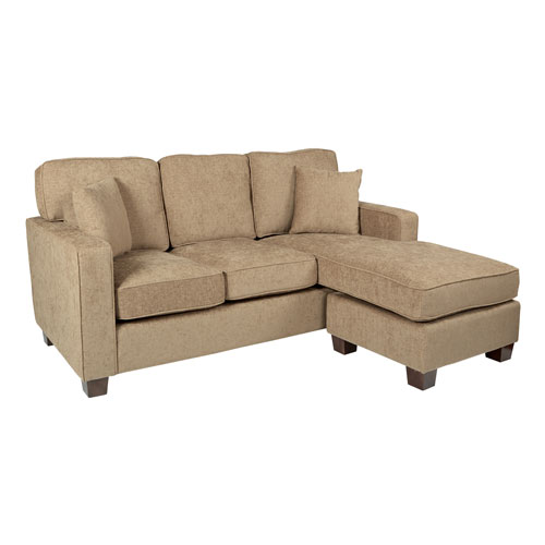 Russell Sectional in Earth fabric with 2 Pillows and Coffee Finished Legs