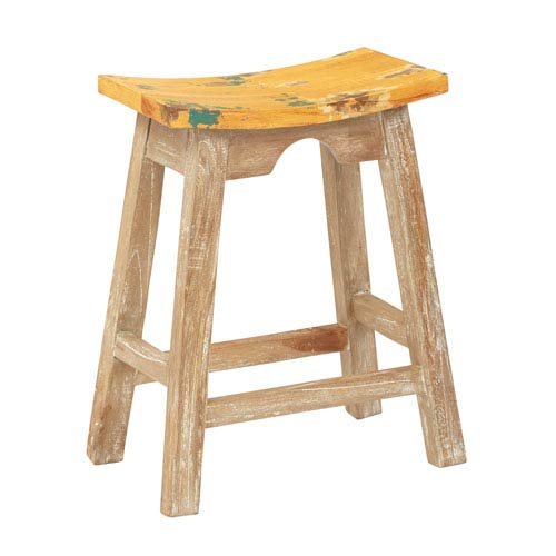 24-Inch Saddle Stool with White Wash Base and Rustic Yellow Seat