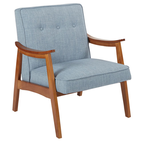 Charlene Chair in Sky Blue Fabric with Spice Finished Frame