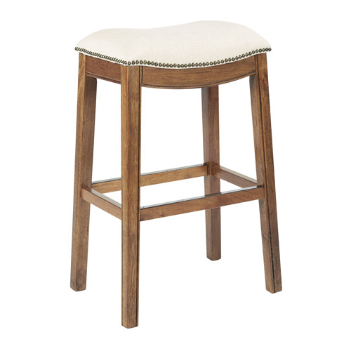 Austin 31-Inch Barstool in Linen Fabric with Mocha Brushed Legs