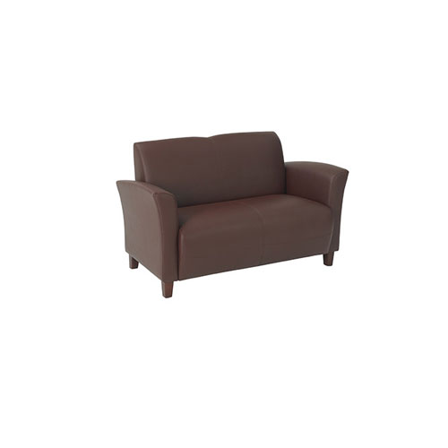 Office Star Products Wine Eco Leather Love Seat with Cherry Finish Legs