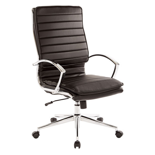 High Back Managers Faux Leather Chair in Black with Chrome Base
