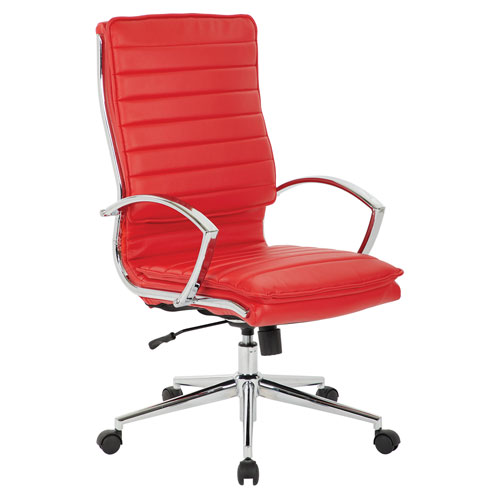 High Back Managers Faux Leather Chair in Red with Chrome Base