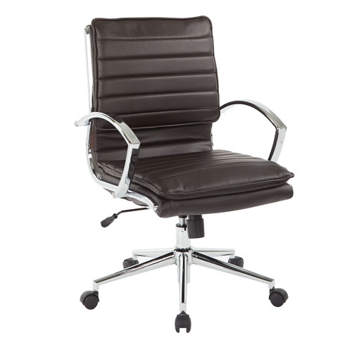 Mid Back Managers Faux Leather Chair in Espresso with Chrome Base