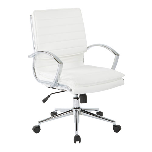 Office Star Products Mid Back Managers Faux Leather Chair In White With  Chrome Base