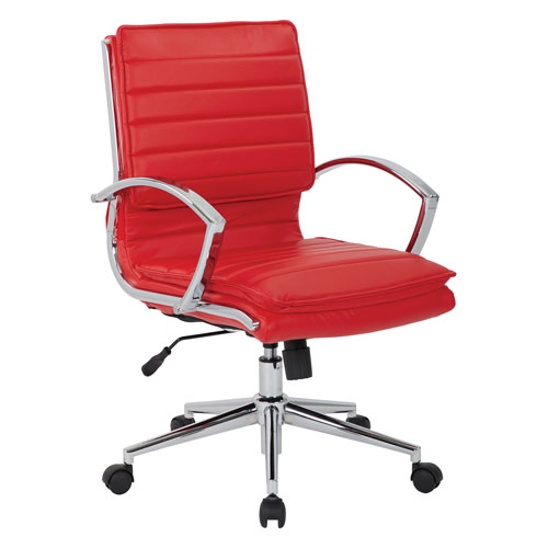 Mid Back Managers Faux Leather Chair in Red with Chrome Base