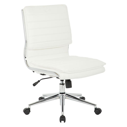 Armless Mid Back Managers Faux Leather Chair in White with Chrome Base