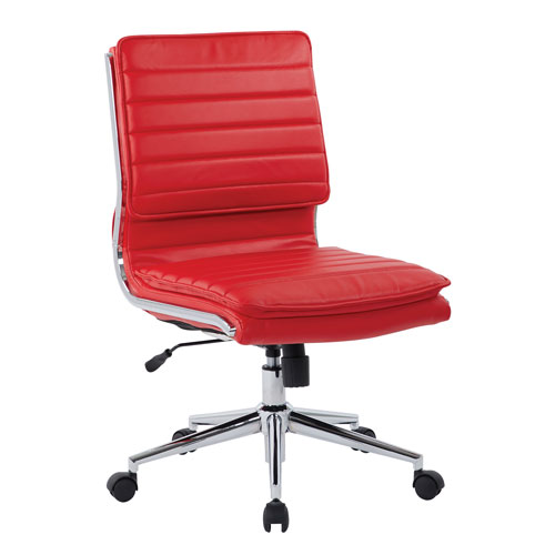 Armless Mid Back Managers Faux Leather Chair in Red with Chrome Base