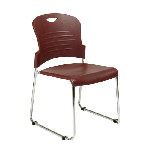 Stack Chair with Sled Base with Plastic Seat and Back. Burgundy. 4 Pack