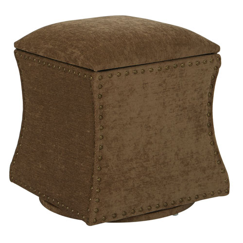 St. James Swivel Ottoman in Earth Fabric with Antique Brass Nailheads