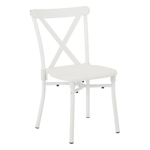 X-Back Guest Stacking Chair 2-Pack with Aluminum Frame and Plastic Seat and Back in White Finish
