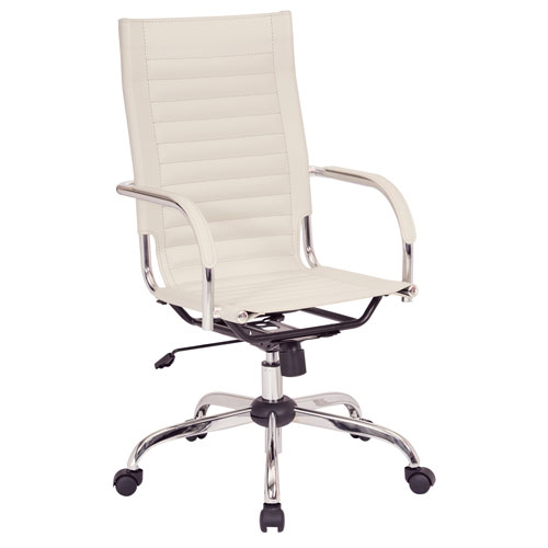 Trinidad High Back Office Chair with Fixed Padded Arms and Chrome Finish Base and Accents in Cream Fabric