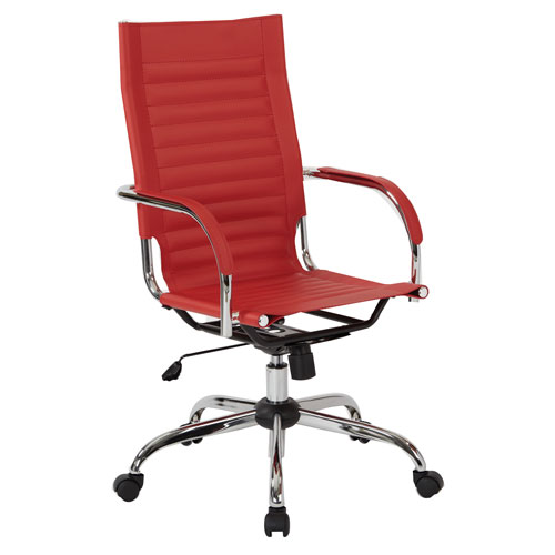 Trinidad High Back Office Chair with Fixed Padded Arms and Chrome Finish Base and Accents in Red Fabric