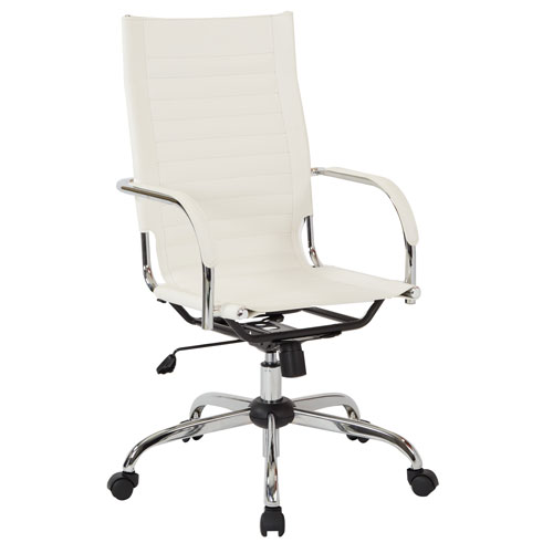 Trinidad High Back Office Chair with Fixed Padded Arms and Chrome Finish Base and Accents in White Fabric
