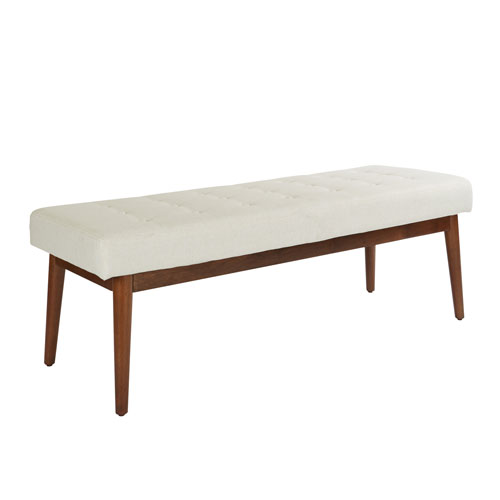 West Park Bench in Linen Fabric with Coffee Finished Legs