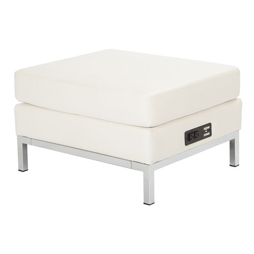Wall Street Ottoman Modular Component with Chrome Base and AC/USB 3.0 Charging Station in White Faux Leather