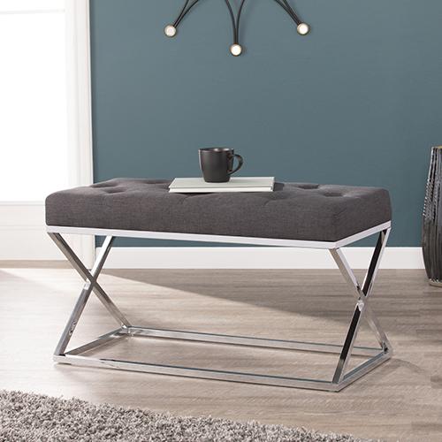 Kinsella Charcoal Gray and Chrome Bench