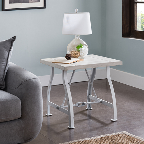 Jacinto Distressed White End Table