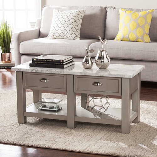 Youngston Antique Gray, White and Brushed Nickel Coffee Table