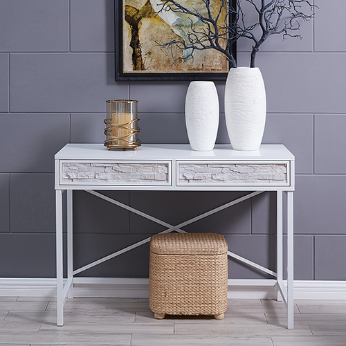 Dimsdale White and Faux Stone Console Table