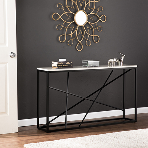 Arendal Matte Black with White Simulated Marble Console Table
