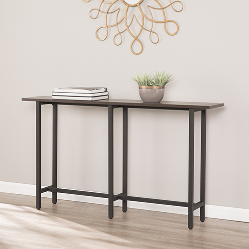 Hendry Matte Black and Espresso Console Table