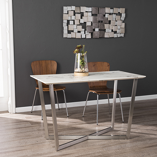 Wrexham Gray with Brushed Nickel Dining Table