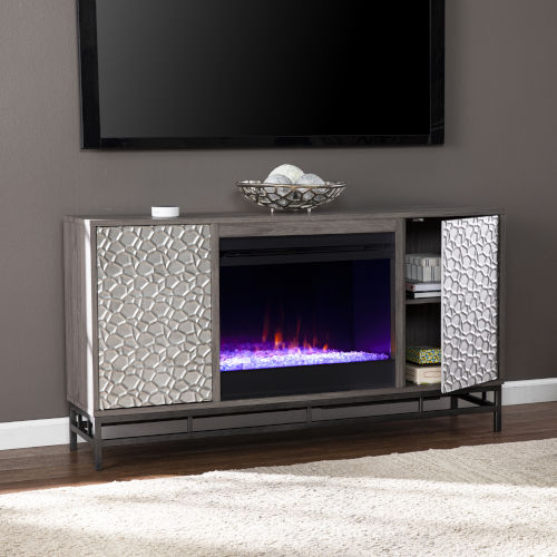 Hollesborne Gray and gunmetal gray Color Changing Fireplace with Media Storage